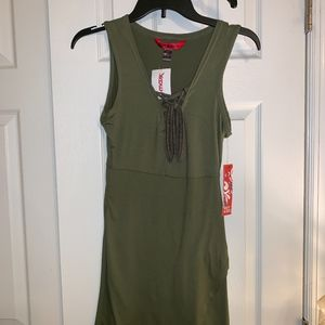 Army Green Lace Up Bodycon Dress - New With Tags!